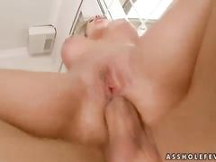 Сисястая русская блондинка трахается в попочку с бритым любовником
