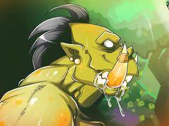 Страшный большой орк жестко ебет раком сисястую амазонку из мультика