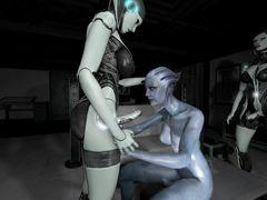 Девушка пришелец из Mass Effect вынуждена трахаться с трансами футанари