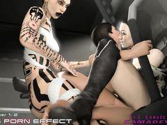 Девчонки из компьютерной игры Mass Effect устроили оргию трансов