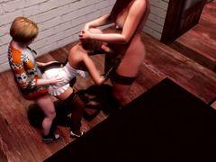 Паренек и девушка транс трахают вдвоем милую блондинку из мульта