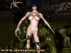 Страшные монстры трахают в болоте сексуальную грудастую телку