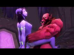 Огромный орк из World of Warcraft жестко трахает плененную эльфийку