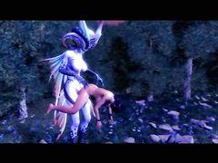 Героиня мультфильма для взрослых ебется в лесу со сказочным монстром