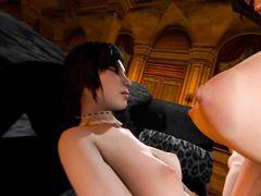 Грудастая транс футанари жестко трахает подружку с узкой киской