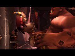 Сексуальные эльфийки из World of Warcraft трахаются с большим орком