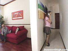 Большегрудая студентка по вызову трахается с учителем у него дома