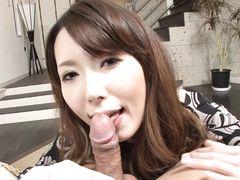 Необычная красивая японка сделала бойфренду классный минет от 1 лица